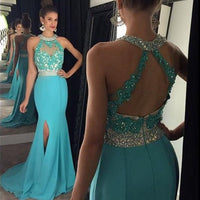 Open Back Mermaid Long Prom Dress with Applique and Beading Custom Made Formal Dress Fashion Winter Dance Dress YDP0110