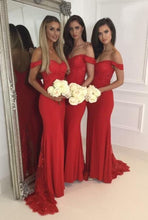 Load image into Gallery viewer, Off the Shoulder Fashion Mermaid Bridesmaid Dress Custom Made Wedding Party Dress YDB0008