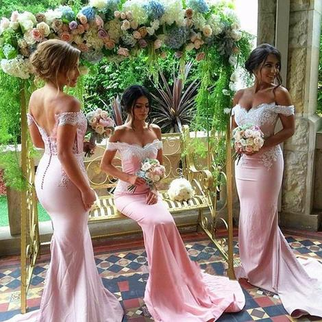 Off the Shoulder Fashion Mermaid Bridesmaid Dress Custom Made Wedding Party Dress YDB0009