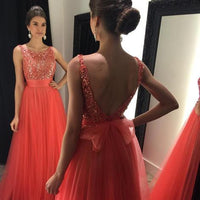 Backless A-line Long Prom Dress With Beading Custom Made Formal Dress Fashion Winter Dance Dress YDP0169