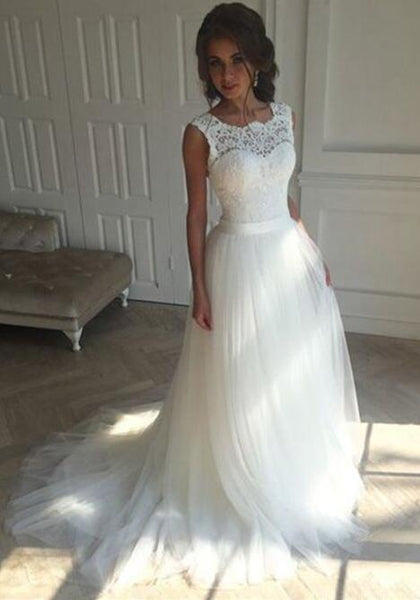 A-line Lace/Tulle Beach Wedding Dress Fashion Custom Made Bridal Dress YDW0018