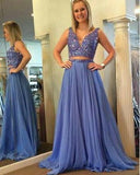 Two Pieces Long Prom Dress with Beading Sweet 16 Dance Dress Fashion Winter Formal Dress YDP0184