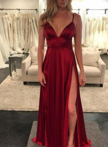 Newest Spaghetti Straps A-Line Long Prom Dress with Slit Sweet 16 Dance Dress Fashion Winter Formal Dress YDP0213