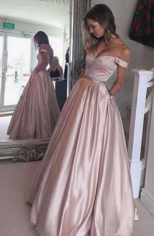 Off the Shoulder A-line Satin Long Prom Dress Custom Made Party Dress Fashion Winter Dance Dress YDP0081