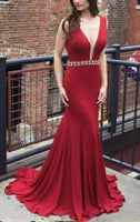 Burgundy Mermaid Long Prom Dress Fashion Formal Dress YDP0050