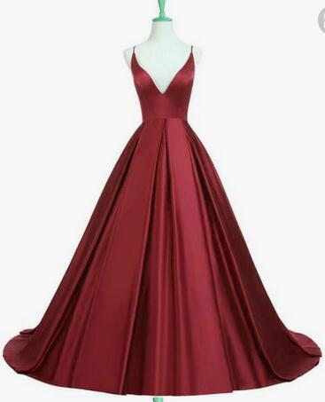 Elegant Burgundy Long Satin Prom Dress with Spaghetti Straps Fashion Wedding Party Dress YDP0024