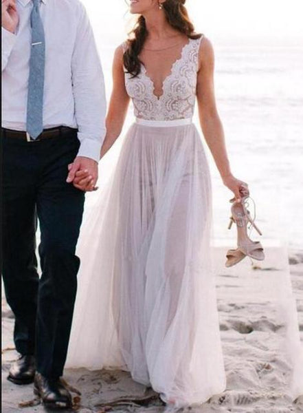 A-line Lace/Tulle Beach Wedding Dress Fashion Custom Made Bridal Dress YDW0004
