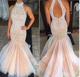 Open Back Mermaid Long Prom Dress With Beading Custom-made School Dance Dress Fashion Graduation Party Dress YDP0462