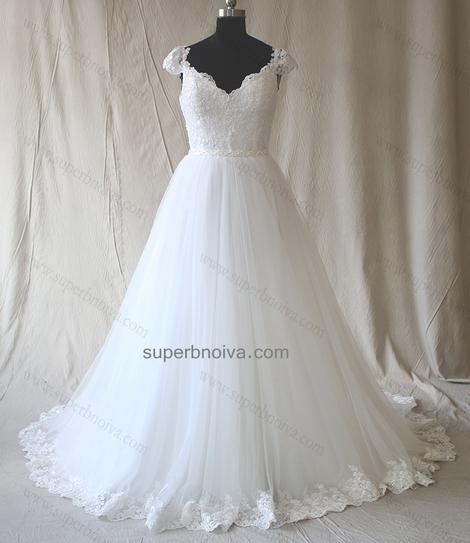 A-line Appliqued Real Photo Wedding Dress Fashion Custom Made Bridal Dress YDW0015