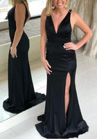 Black Sexy Long Prom Dress with Slit School Dance Dress Fashion Winter Formal Dress YDP0335