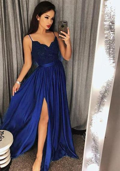 3b55a76368 Royal Blue A-line Long Prom Dress with Slit Sweet 16 Dance Dress Fashion  Winter