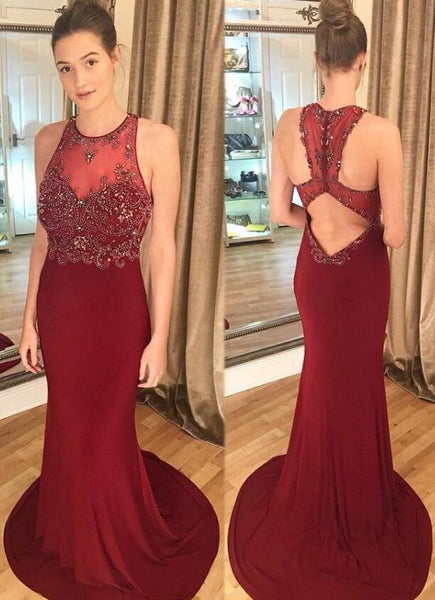 Mermaid Long Prom Dress With Beading School Dance Dress Fashion Winter Formal Dress YDP0377