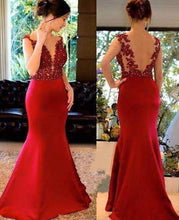 Load image into Gallery viewer, Mermaid Long Prom Dresses With Applique and Beading Custom-made School Dance Dress Fashion Graduation Party Dress YDP0510