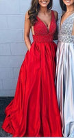 Sexy Beaded Long Prom Dresses Custom-made School Dance Dress Fashion Graduation Party Dress YDP0518
