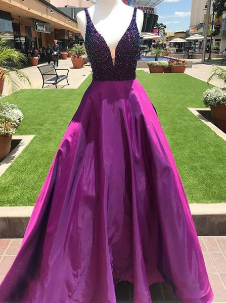 V-neck Beaded Long Prom Dresses Custom-made School Dance Dress Fashion Graduation Party Dress YDP0528
