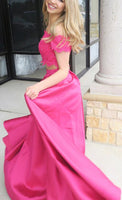 Off Shoulder 2 Pieces Long Prom Dress Custom-made School Dance Dress Fashion Graduation Party Dress YDP0589