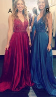 V-neck Beading Long Prom Dress Custom-made School Dance Dress Fashion Graduation Party Dress YDP0597