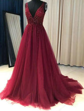 Load image into Gallery viewer, Deep V-neck Sexy A-line Long Prom Dress With Beading Custom-made School Dance Dress Fashion Graduation Party Dress YDP0447