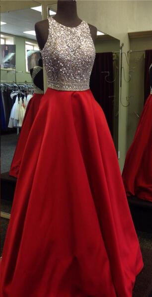 Open Back Long Prom Dress With Beading Custom-made School Dance Dress Fashion Graduation Party Dress YDP0601