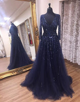 V-neck Beaded Long Prom Dress 8th Graduation Dress Custom-made School Dance Dress YDP0727