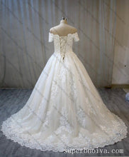 Load image into Gallery viewer, Off Shoulder Ball Gown Wedding Dress Real Photo ,Fashion Custom Made Bridal Dress YDW0061