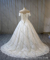 Off Shoulder Ball Gown Wedding Dress Real Photo ,Fashion Custom Made Bridal Dress YDW0061