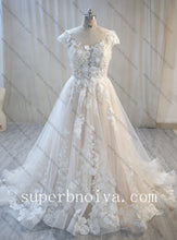 Load image into Gallery viewer, Cap Sleeves A-line Wedding Dress ,Fashion Custom Made Real Photo Bridal Dress YDW0064