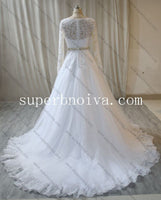 Long Sleeves Ball Gown Wedding Dress ,Fashion Custom Made Bridal Dress YDW0063