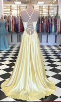 V-neck Long Prom Dress with Lace up Back,8th Graduation Dress, Custom-made Wedding Party Dress YDP0789