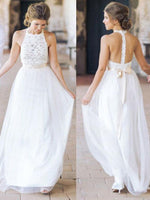 Backless A-line Beach Wedding Dress, Fashion Custom Made Bridal Dress YDW0076