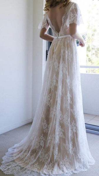 V-neck A-line Lace Beach Wedding Dress, Fashion Custom Made Bridal Dress YDW0077