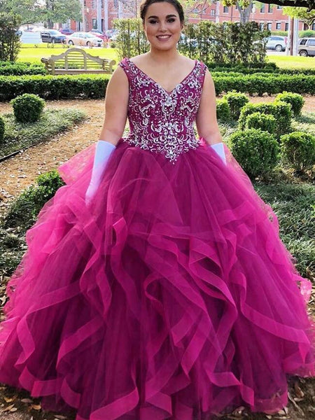 Long Prom Dress with Beading,8th Graduation Dress,Ball Gown Quinceanera Dress YDP0792