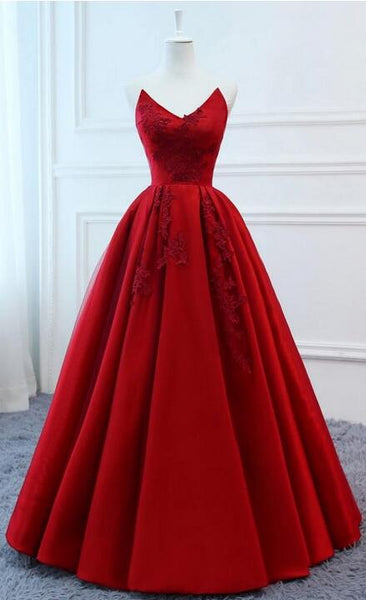 Strapless Ball Gown Long Prom Dress with Applique and Beading,8th Graduation Dress, Evening Gown YDP0806