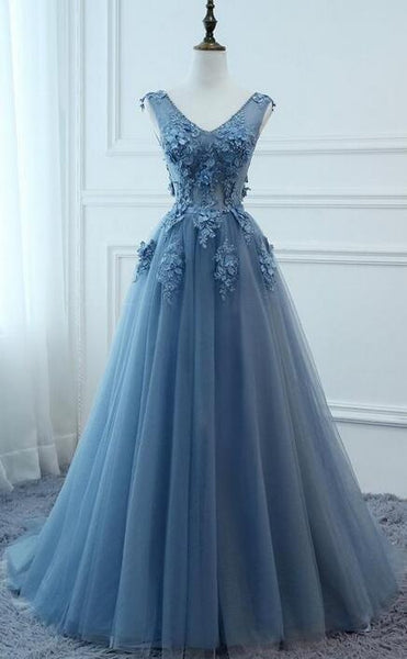 V-neck Ball Gown Long Prom Dress with Applique and Beading,8th Graduation Dress, Evening Gown YDP0807