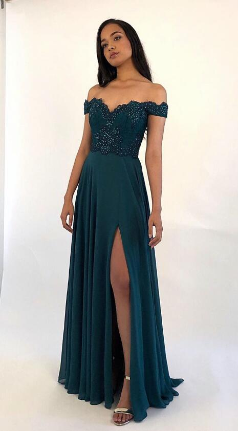 Off Shoulder Long Prom Dress with Applique and Beading,8th Graduation Dress, Evening Gown,Winter Formal Dress YDP0854