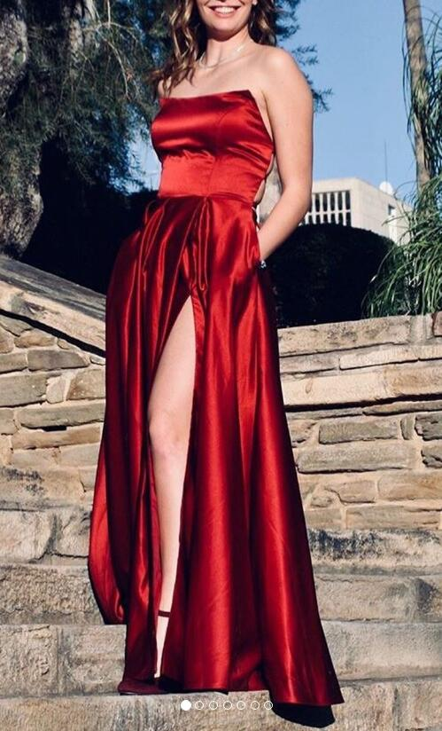 Simple Long Prom Dresses with Slit ,8th Graduation Dress, Evening Gown,Winter Dance Dress YDP0860