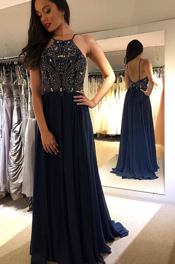 Beading Long Prom Dresses 8th Graduation Dress School Dance Winter Formal Dress YDP0944
