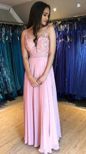 Load image into Gallery viewer, Long Prom Dresses With Applique and Beading 8th Graduation Dress School Dance Winter Formal Dress YDP0945