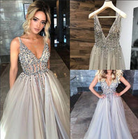 Sexy Long Prom Dresses with Beading 8th Graduation Dress School Dance Winter Formal Dress YDP0876