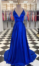 Load image into Gallery viewer, Deep V-neck Long Prom Dresses 8th Graduation Dress School Dance Winter Formal Dress YDP0890