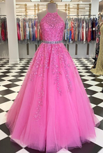 Load image into Gallery viewer, 2020 Long Prom Dresses with Applique and Beading 8th Graduation Dress School Dance Winter Formal Dress YDP0914
