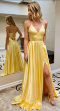 Load image into Gallery viewer, Simple Yellow Prom Dress With Lace up back Long Prom Dresses 8th Graduation Dress School Dance Winter Formal Dress YDP0968