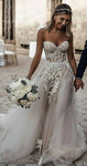 Strapless Sweetheart Tulle Beach Wedding Dress with Applique, Fashion Custom Made Bridal Dress YDW0082