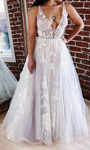 Deep V-neck A-line Tulle Beach Wedding Dress with Applique, Fashion Custom Made Bridal Dress YDW0084