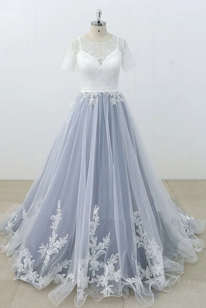 Ball Gown Lace/Tulle Wedding Dress With Short Sleeves Fashion Custom Made Bridal Dress YDW0088