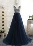 Tulle Prom Dresses with Beading Long Prom Dresses 8th Graduation Dress School Dance Winter Formal Dress YDP1045