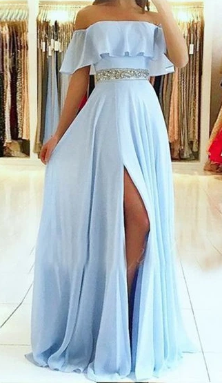 Chiffon Prom Dresses with Beading Long Prom Dresses 8th Graduation Dress School Dance Winter Formal Dress YDP1047