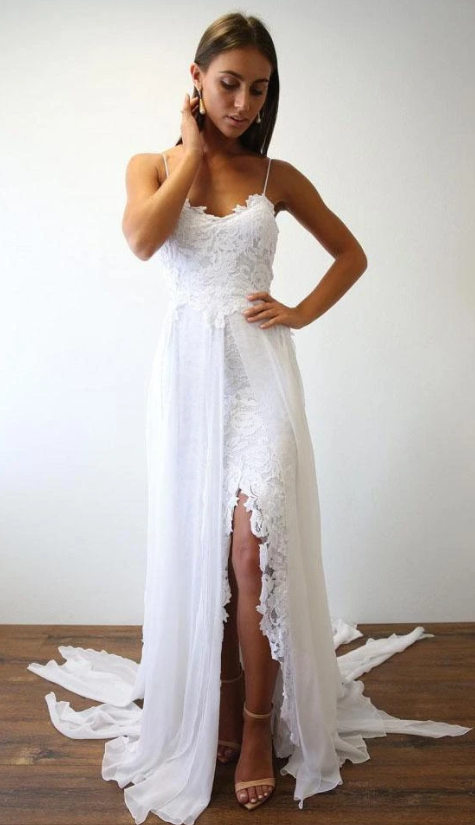 Spaghetti Straps A-line Beach Wedding Dress  Fashion Custom Made Bridal Dress YDW0092