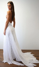Load image into Gallery viewer, Spaghetti Straps A-line Beach Wedding Dress  Fashion Custom Made Bridal Dress YDW0092
