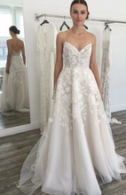 Load image into Gallery viewer, Open Back A-line Wedding Dress with Applique Fashion Custom Made Bridal Dress YDW0094